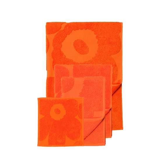 Marimekko Orange Unikko Towels