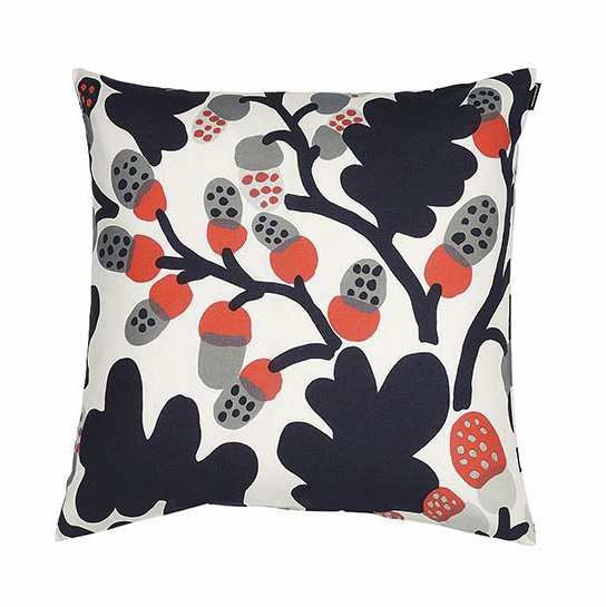 Marimekko Pähkinäpuu Orange/Grey Throw Pillow