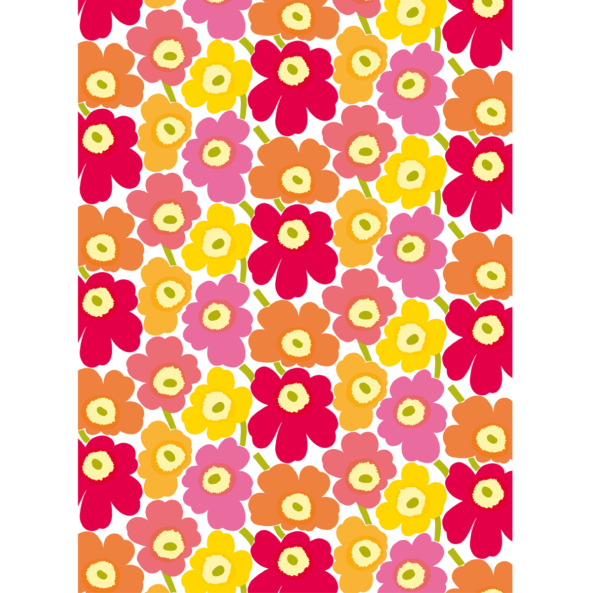 Marimekko Pieni Unikko Yellow Orange Pink Cotton
