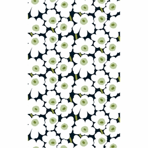 Marimekko Pieni Unikko Black / White / Green Cotton Fabric