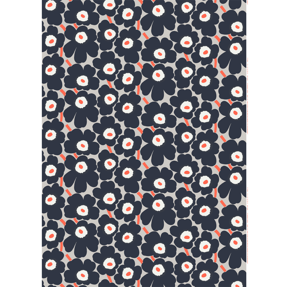 marimekko pieni unikko dark grey coral cotton fabric