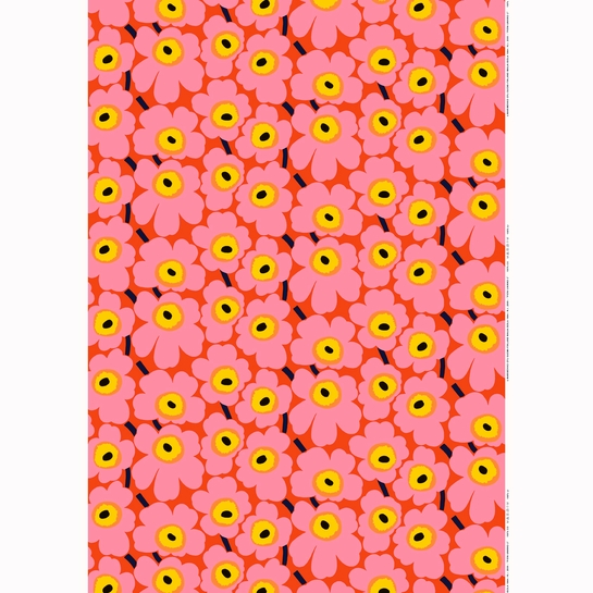 Marimekko Pieni Unikko Orange / Pink Fabric