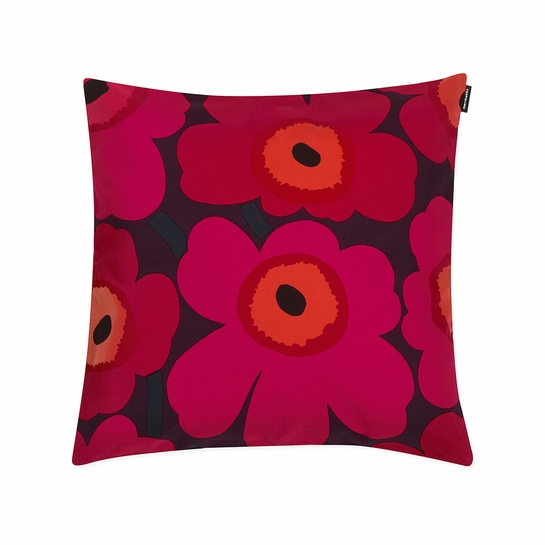Marimekko Pieni Unikko Plum / Red Small Throw Pillow