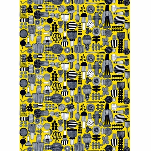 Marimekko Puutarhurin Yellow / Black Cotton Fabric