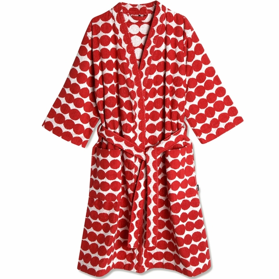 Marimekko Rasymatto Red / White Bathrobe