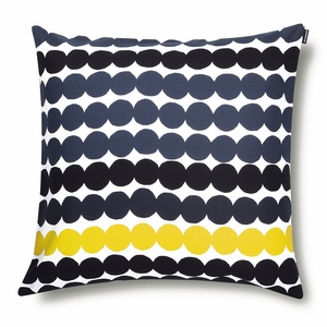 Marimekko Rasymatto White / Black / Yellow Large Throw Pillow