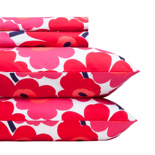 Marimekko Red Pieni Unikko Sheet Set - Full