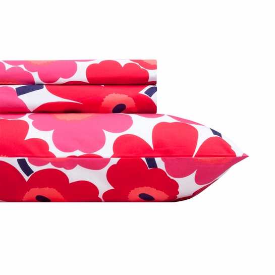 Marimekko Red Pieni Unikko Sheet Set - Twin XL