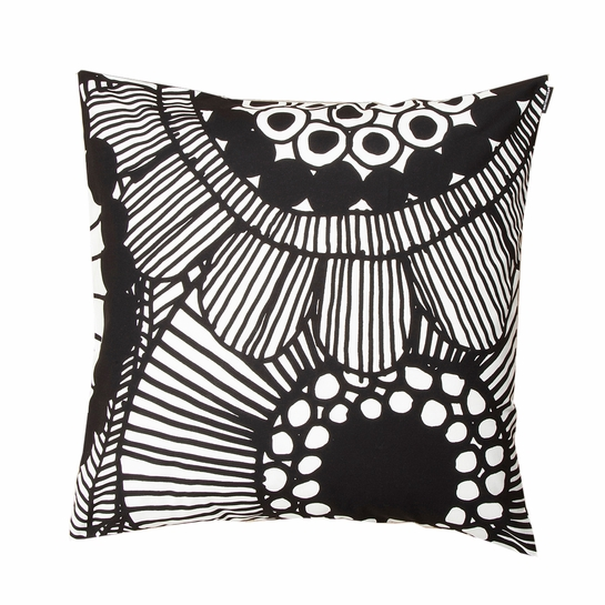 Marimekko Siirtolapuutarha White / Black Large Throw Pillow