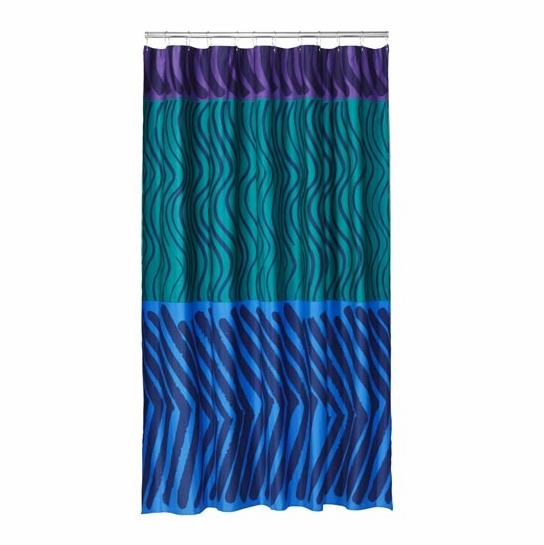 Marimekko Silkkikuikka Purple Teal Blue Cotton Shower Curtain