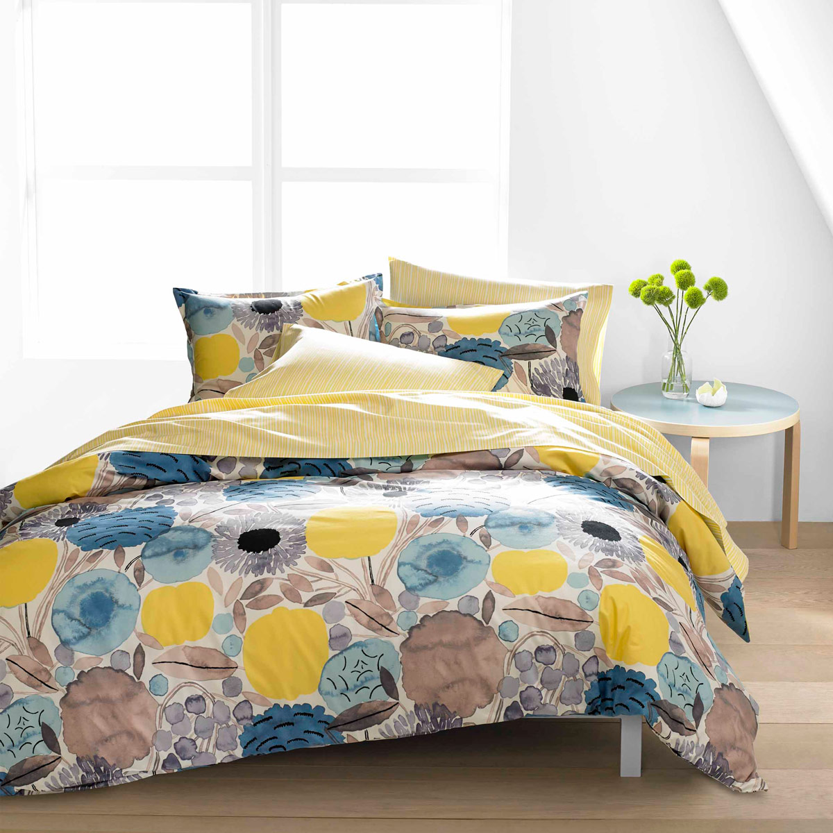 Marimekko Sitruunapuu Yellow Blue Duvet Cover Set