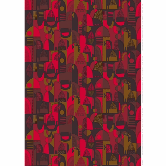 Marimekko Talvitarina Red PVC-Coated Fabric