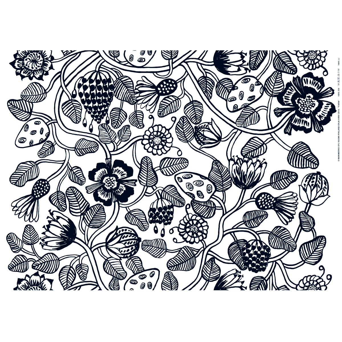 Gentil Marimekko Tiara White / Black Cotton Fabric