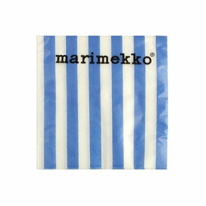 Marimekko Ujo Blue Striped Paper Napkins - Click to enlarge