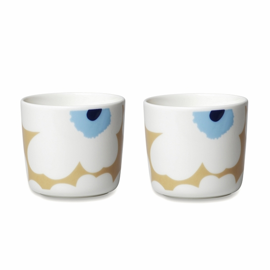 Marimekko Unikko Beige / Blue Coffee Cup (Set of 2)