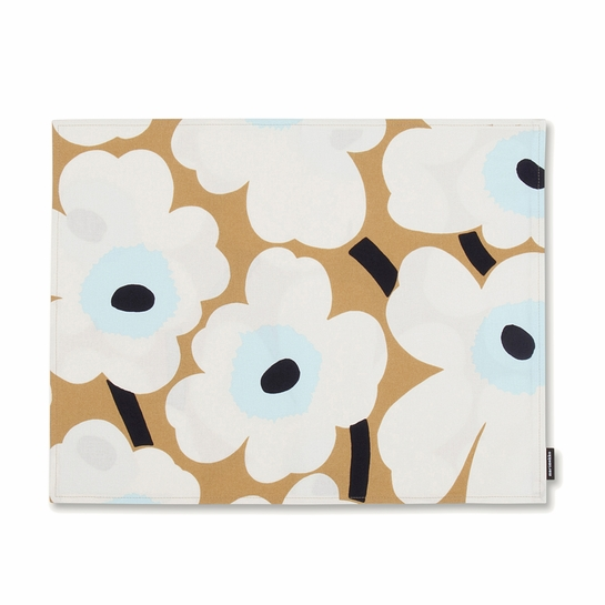 Marimekko Unikko Beige / Blue Acrylic-Coated Cotton Placemat