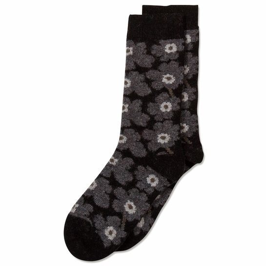 Marimekko Unikko Black / Grey Wool Socks