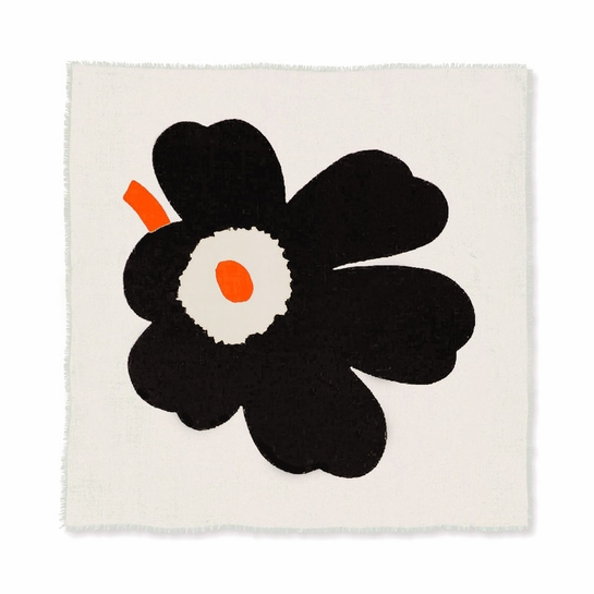 Marimekko Tii Ivory / Black / Orange Wool Scarf
