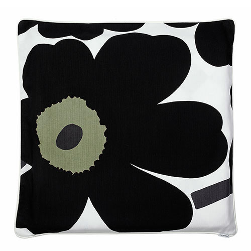 Oversized Black Throw Pillow : Marimekko Unikko Black / Varvunraita Black Oversized Throw Pillow - Marimekko Throw Pillows ...