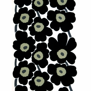 Marimekko Unikko Black / White Cotton Fabric