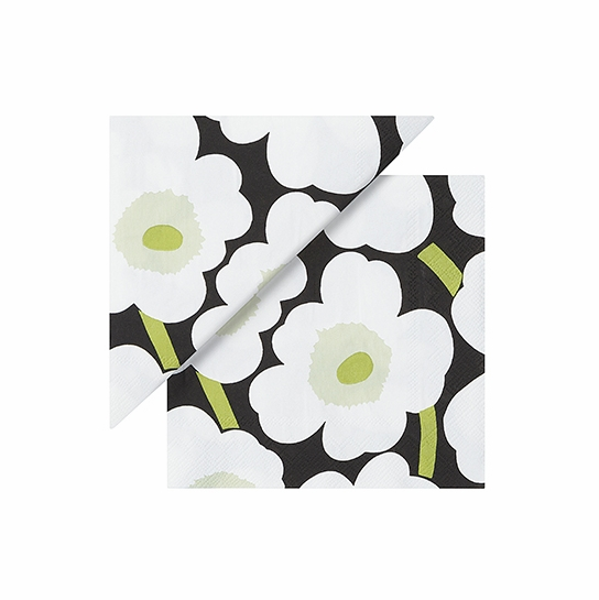 Marimekko Unikko Black/White/Green Cocktail Napkins