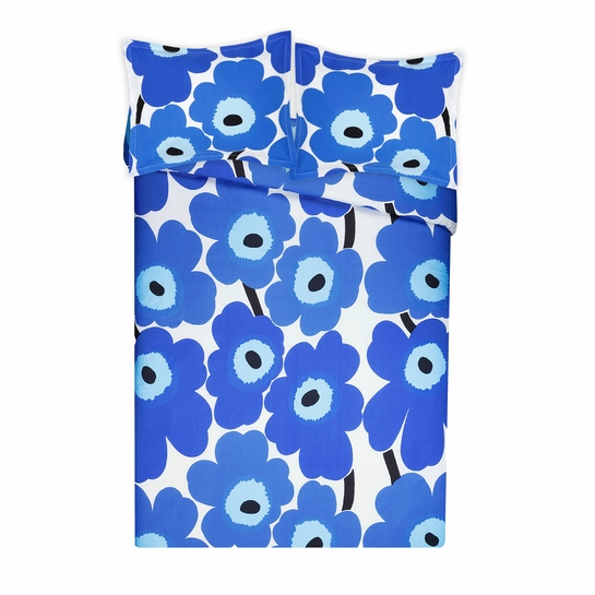 Marimekko Unikko Blue Full / Queen Duvet Cover Set