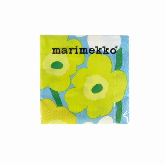 Marimekko Unikko Blue/Green/Yellow Cocktail Napkins