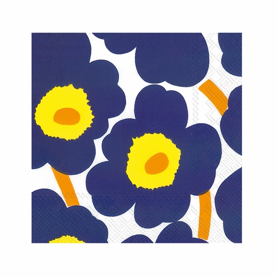 Marimekko Unikko Dark Blue Cocktail Napkins