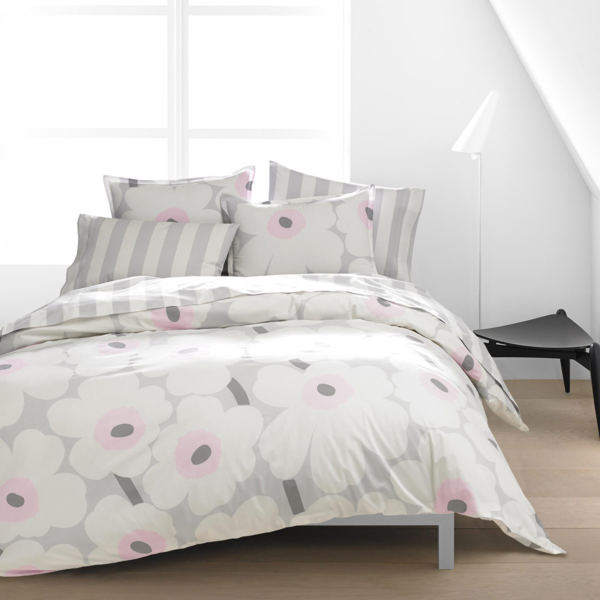 Marimekko Unikko Grey Pink Duvet Cover Set King