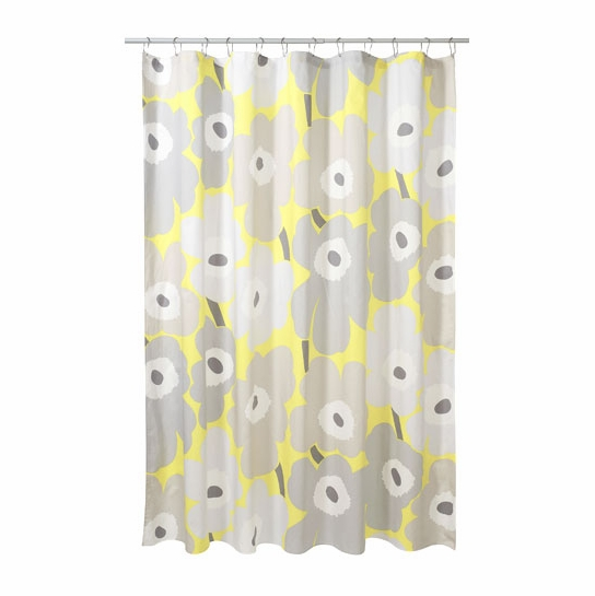 Marimekko Unikko Grey Yellow Cotton Shower Curtain