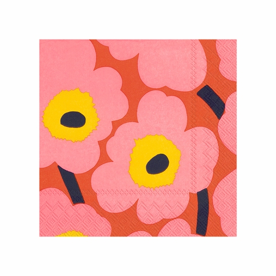 Marimekko Unikko Orange / Pink Cocktail Napkins