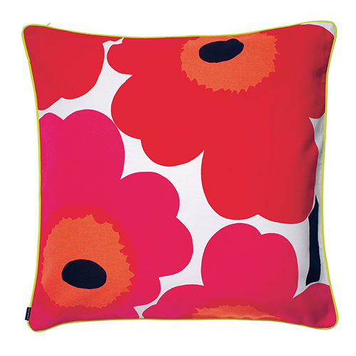 Marimekko Unikko Red / Varvunraita Black Oversized Throw Pillow - Marimekko Throw Pillows & Blankets