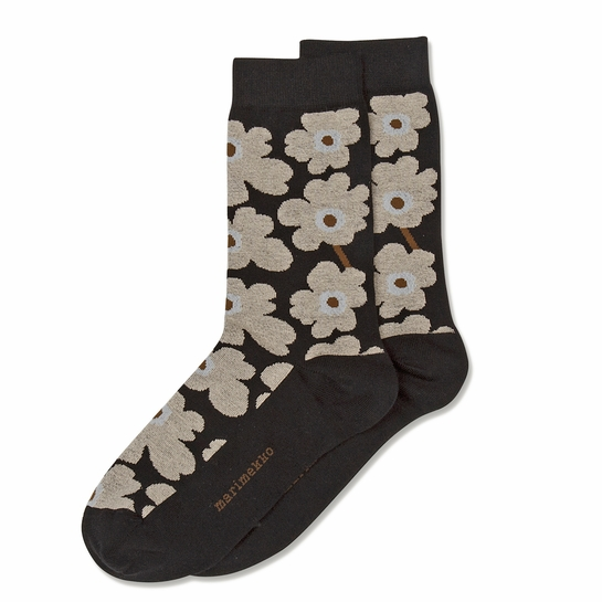 Marimekko Unikko Socks - Black / Beige / Brown