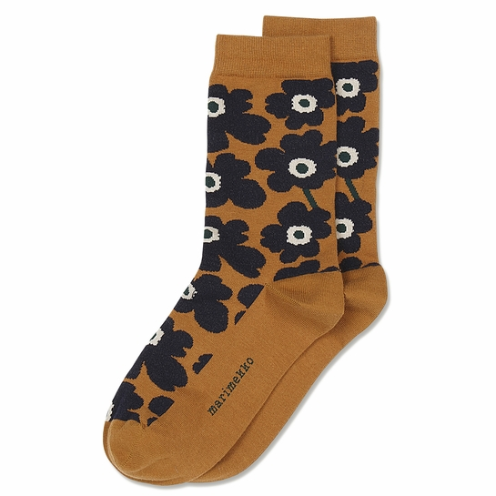 Marimekko Unikko Socks - Gold Brown / Blue / Dark Green