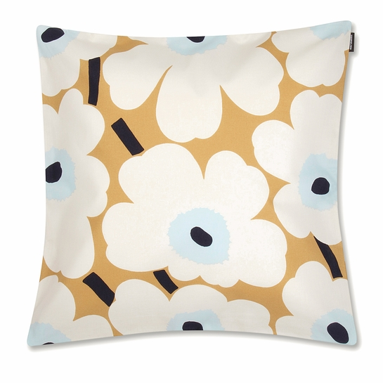 Marimekko Unikko Beige / Blue Large Throw Pillow