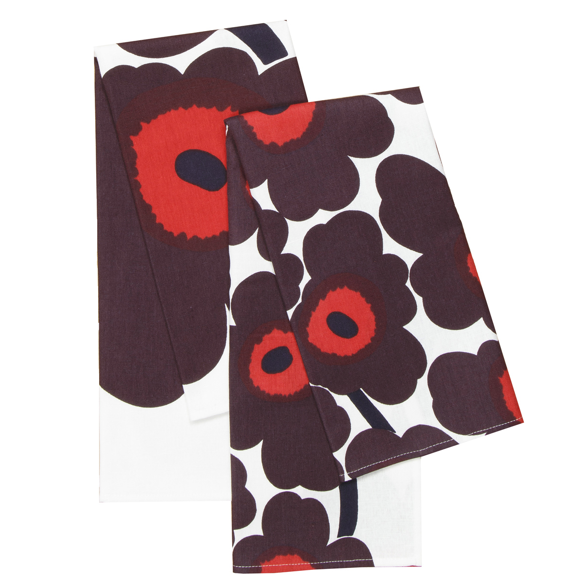 Marimekko Unikko White Red Plum Tea Towels Set Of 2