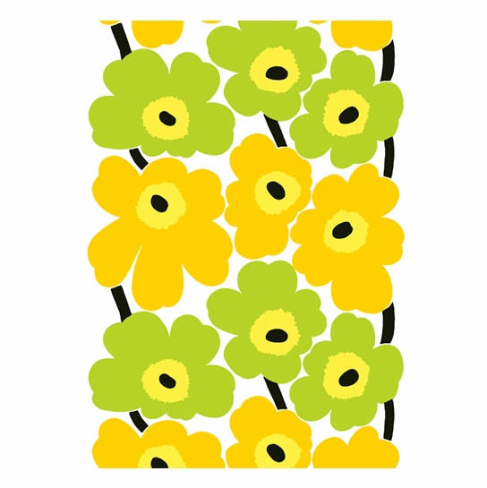 Marimekko Unikko Yellow / Lime Fabric