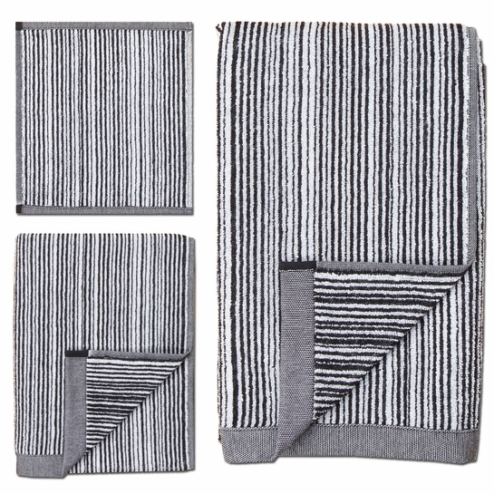 Marimekko Varvunraita White / Black Bath Towels