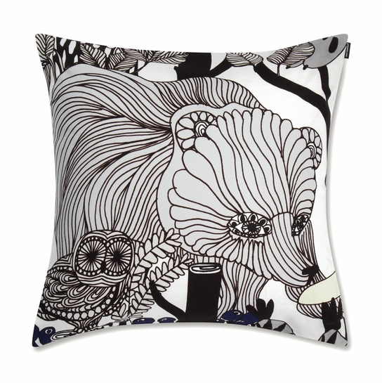 Marimekko Veljekset White / Black Large Throw Pillow - Marimekko Fabric & Throw Pillow Sale