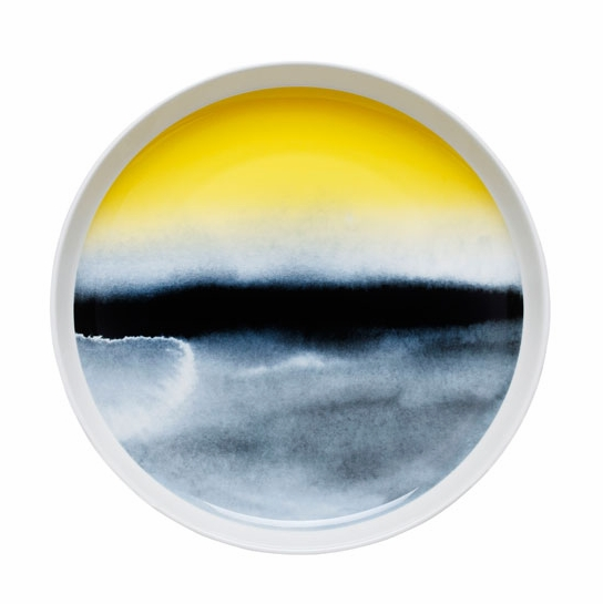 Marimekko Weather Diary White/Black/Yellow Salad Platter