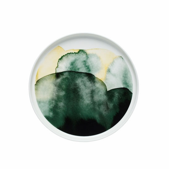 Marimekko Weather Diary White/Green/Yellow Salad Plate