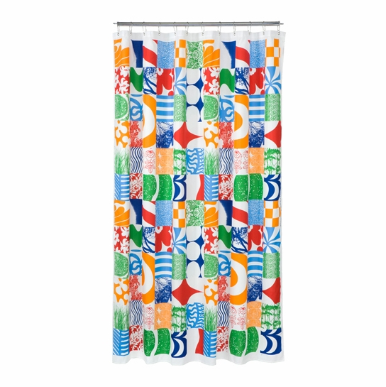 Marimekko Yhdessä Multi-Colored Long Polyester Shower Curtain