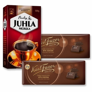 Paulig Mokka Coffee and Fazer Dark Chocolate Gift Set