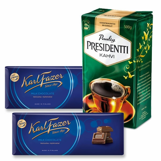 Paulig Presidentti Coffee and Fazer Milk Chocolate Gift Set
