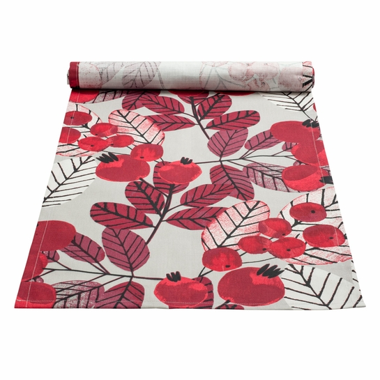 Pentik Ruusunmarja (Rose Hip) Grey Coated Table Runner