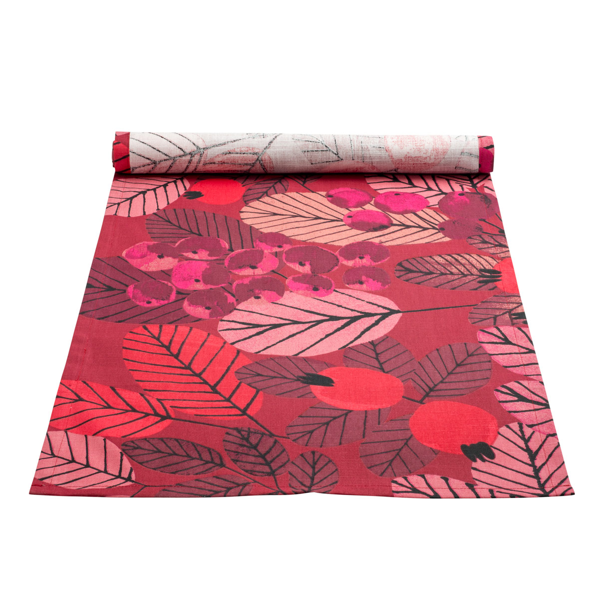 Delicieux Pentik Ruusunmarja (Rose Hip) Red Coated Table Runner