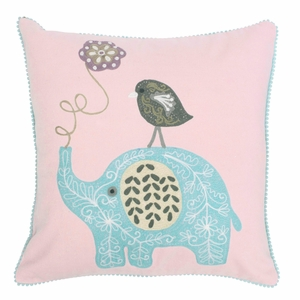 Pentik Satu Elephant Pink Throw Pillow