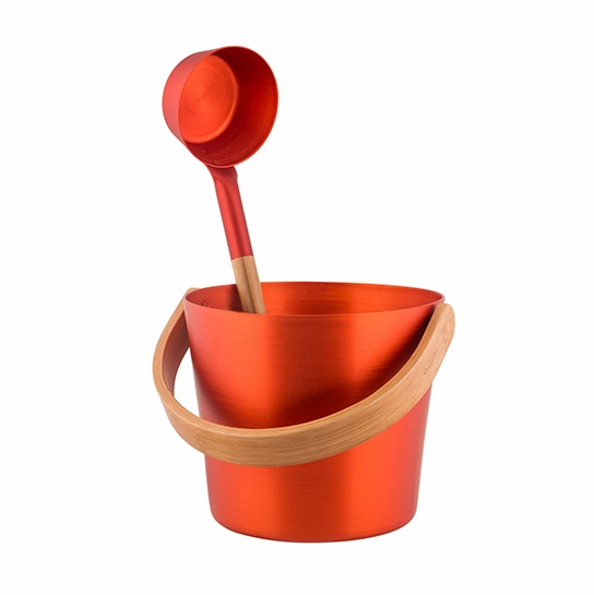 Rento Orange Sauna Pail & Ladle Gift Set