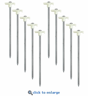 10 Pack - Glow in the Dark Tent Stakes - 10.5 Inch Galvanized Steel
