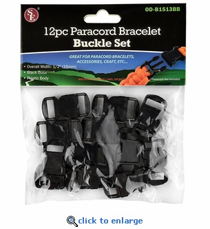 12 Piece Paracord Bracelet Buckle Set - 1/2